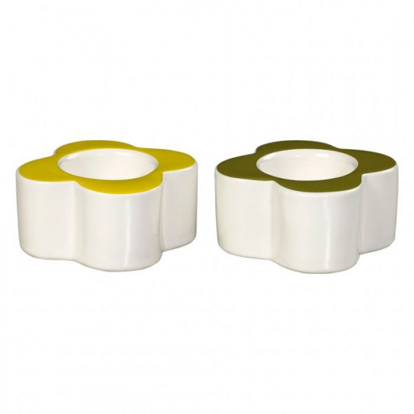 Orla Kiely - Abacus Flower Set of 2 Egg Cups in Seagrass and Sunshine.