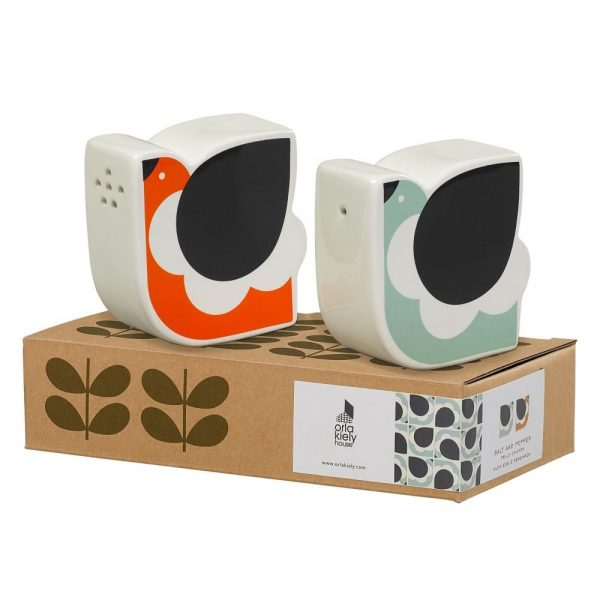 Orla Kiely Frilly Chicken Salt and Pepper Shaker. Duckegg and Persimmon.