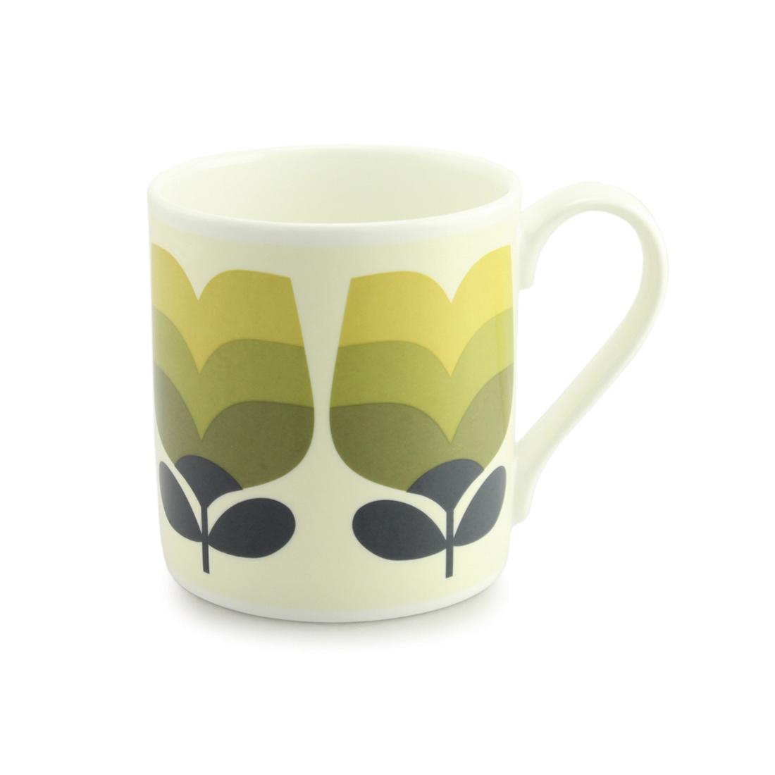 Orla Kiely Quite Big Mug - Olive Tonal Striped Tulip