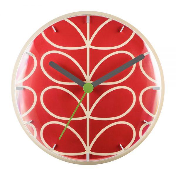 Orla Kiely - linear stem wall clock geranium red