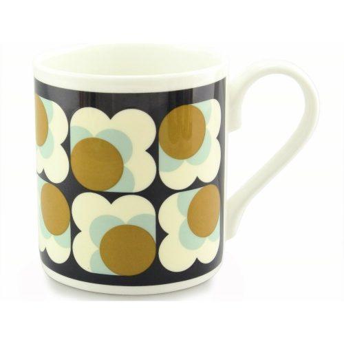 Orla Kiely Mug - Ochre Big Spot Flower Blue